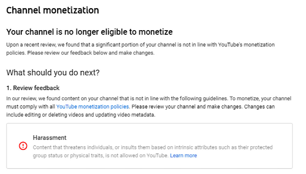 """YouTube demonetized AugieRFC under its controversial """"harassment"""" rules (Twitter - @AugieRFC)"""