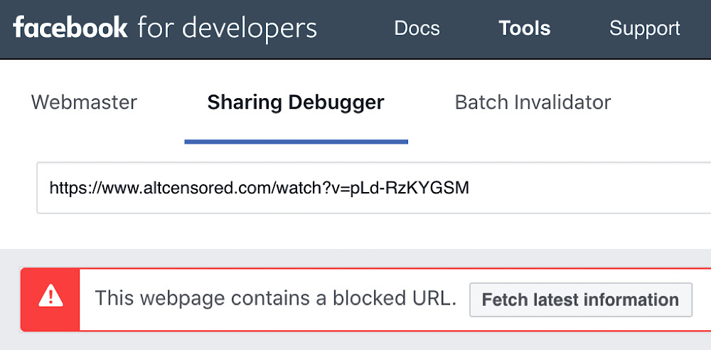 Facebook's sharing debugger tool shows that it's blocking image previews on altCensored links that were posted to the site after May 28