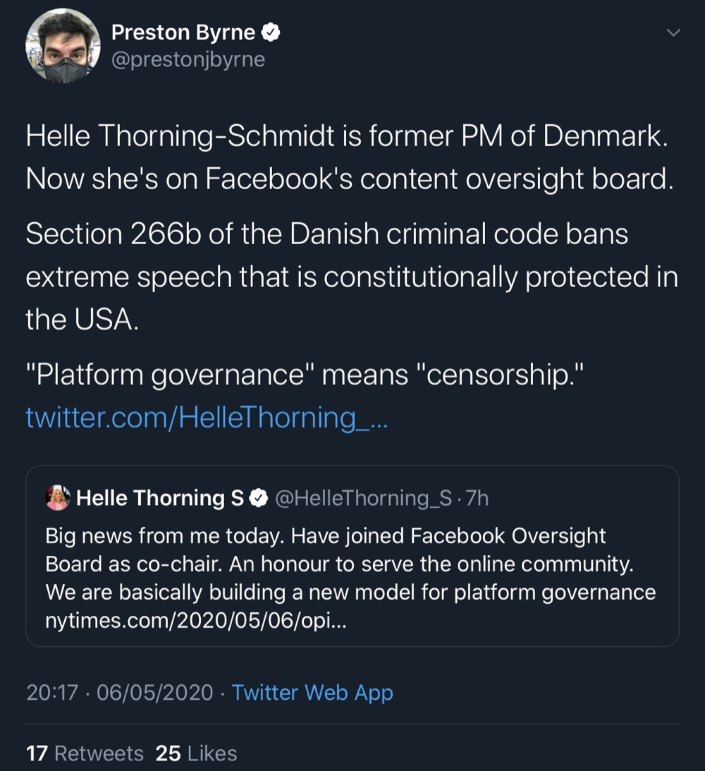 Preston Byrne raised concerns over Helle Throning-Schmidt being a former Prime Minister of Denmark - a country with strong hate speech laws (Twitter - @prestonjbyrne, @HelleThorning_S)