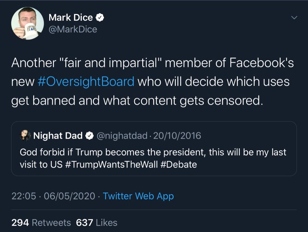 Nighat Dad tweeted in 2016 that she wouldn't return to the US if Trump became President (Twitter - @MarkDice, @nighatdad)