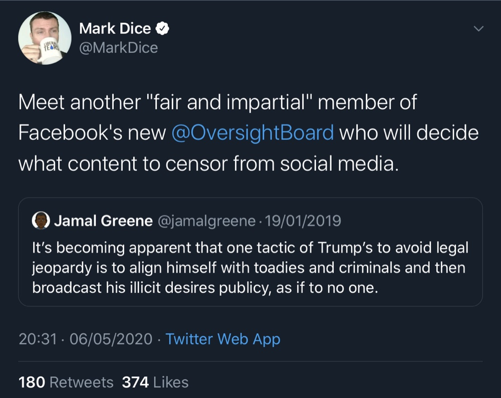 "Jamal Greene accused President Trump of aligning himself with ""toadies and criminals"" (Twitter - @MarkDice, @jamalgreene)"