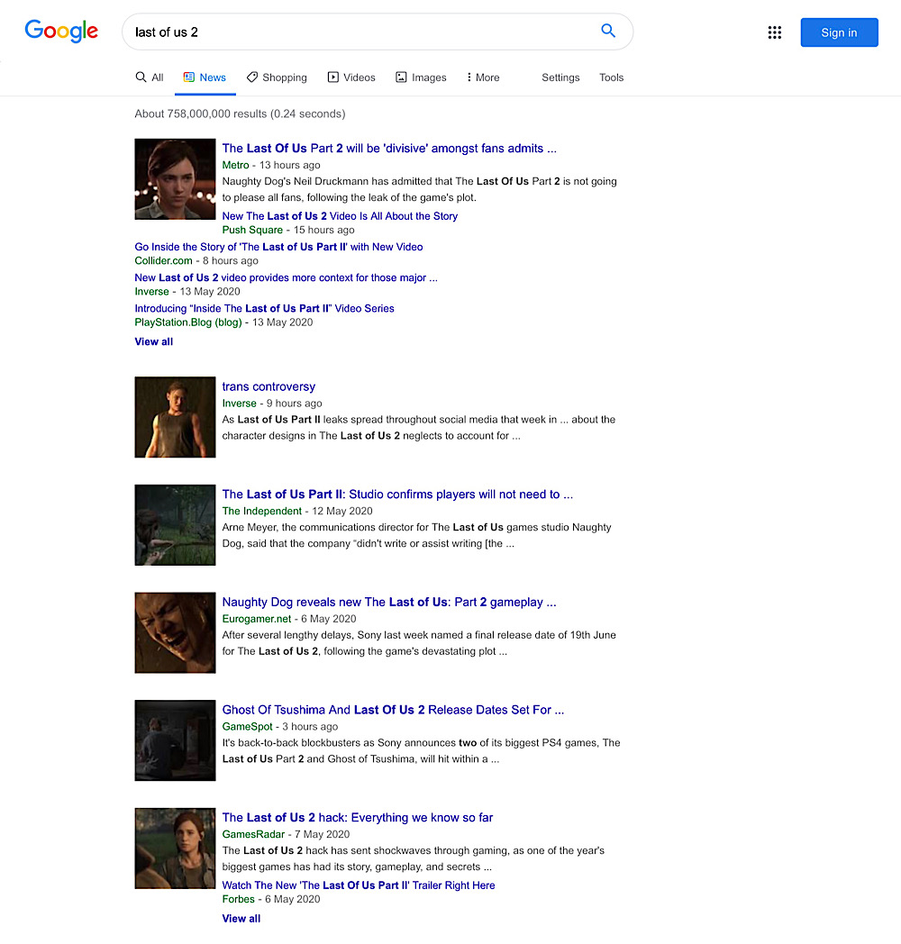 """The Google Search news results for """"last of us 2"""" are filled with stories from mainstream video game news outlets"""