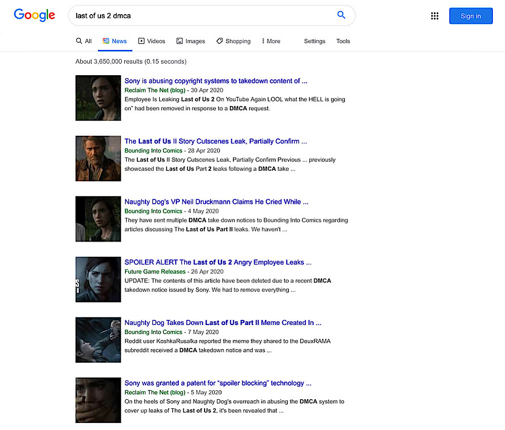 """The Google Search news results for """"last of us 2 dmca"""" are filled with alternative and independent media outlets"""