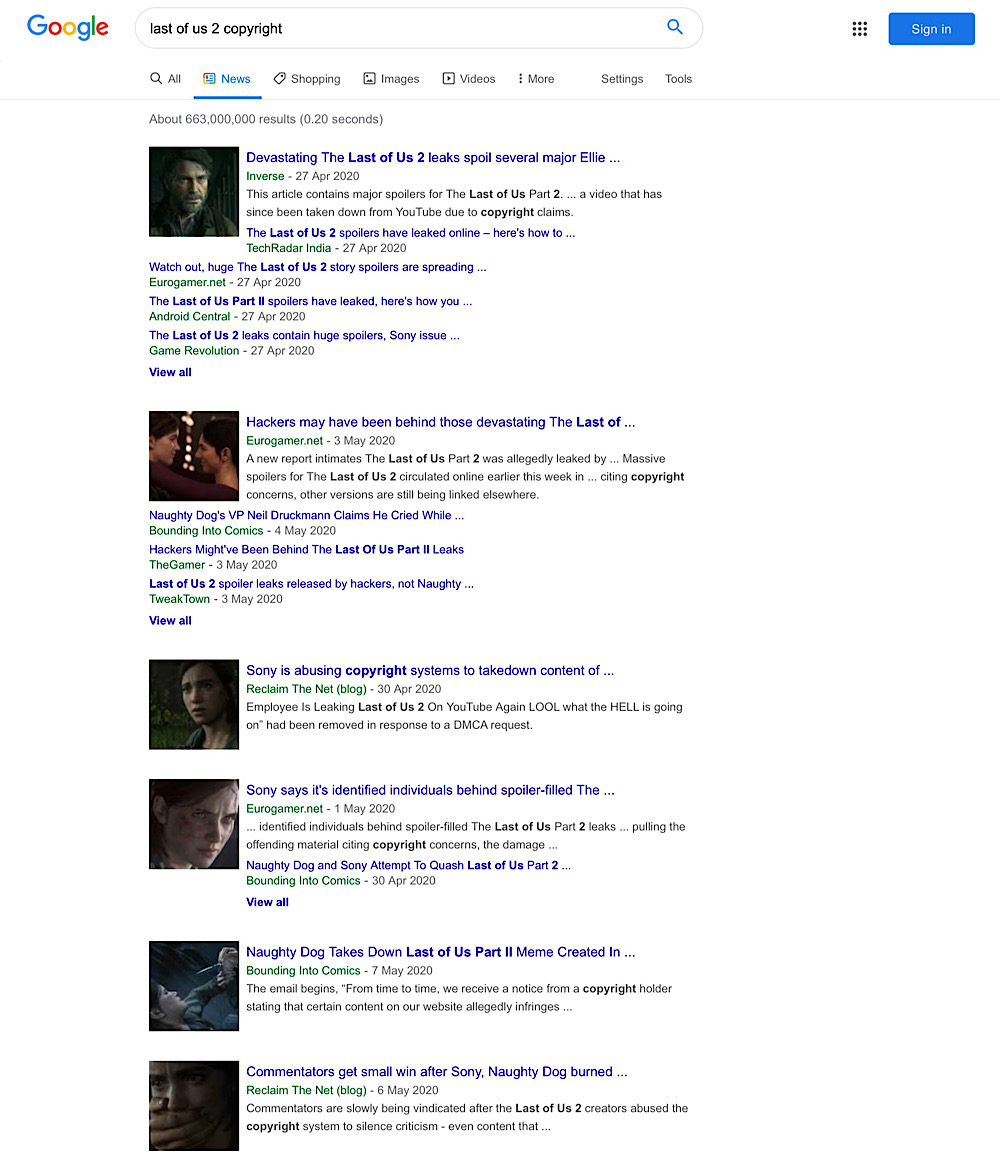 """The Google Search news results for """"last of us 2 copyright"""" contain results from mainstream video game news outlets but most aren't covering Sony and MUSO's abuse copyright systems"""