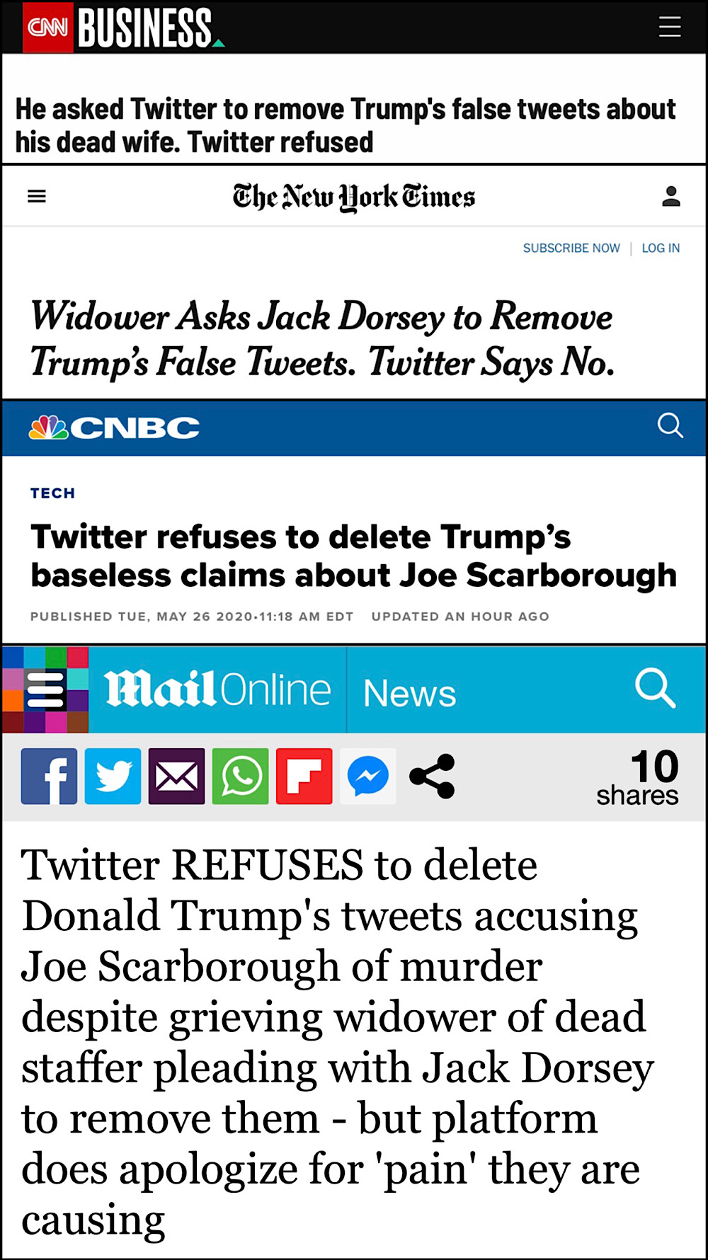The mainstream media complained that Twitter didn't remove President Trump's tweets immediately (CNN, The New York Times, CNBC, Daily Mail)