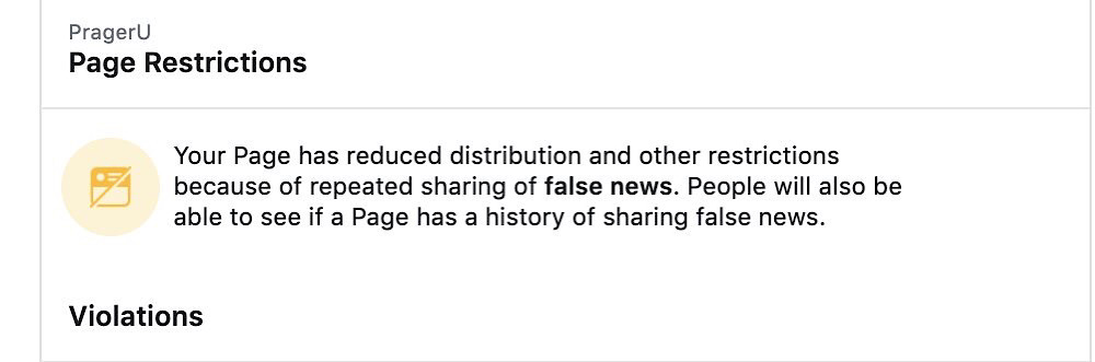 "Facebook accused PragerU of ""repeated sharing of false news"" (Twitter - @PragerU)"