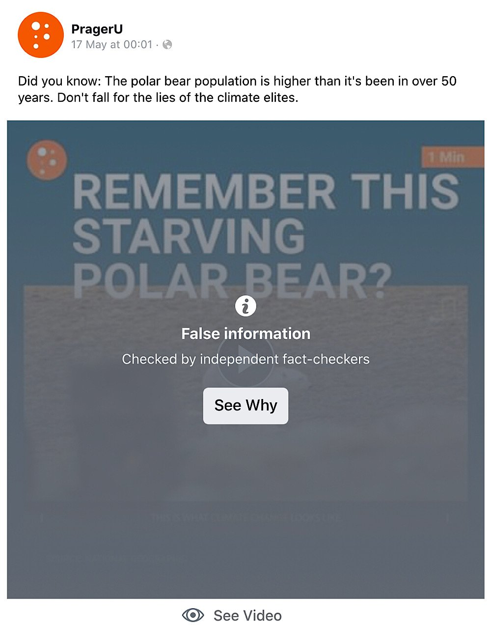PragerU's polar bear video was subject to a disputed fact check (Facebook - PragerU)