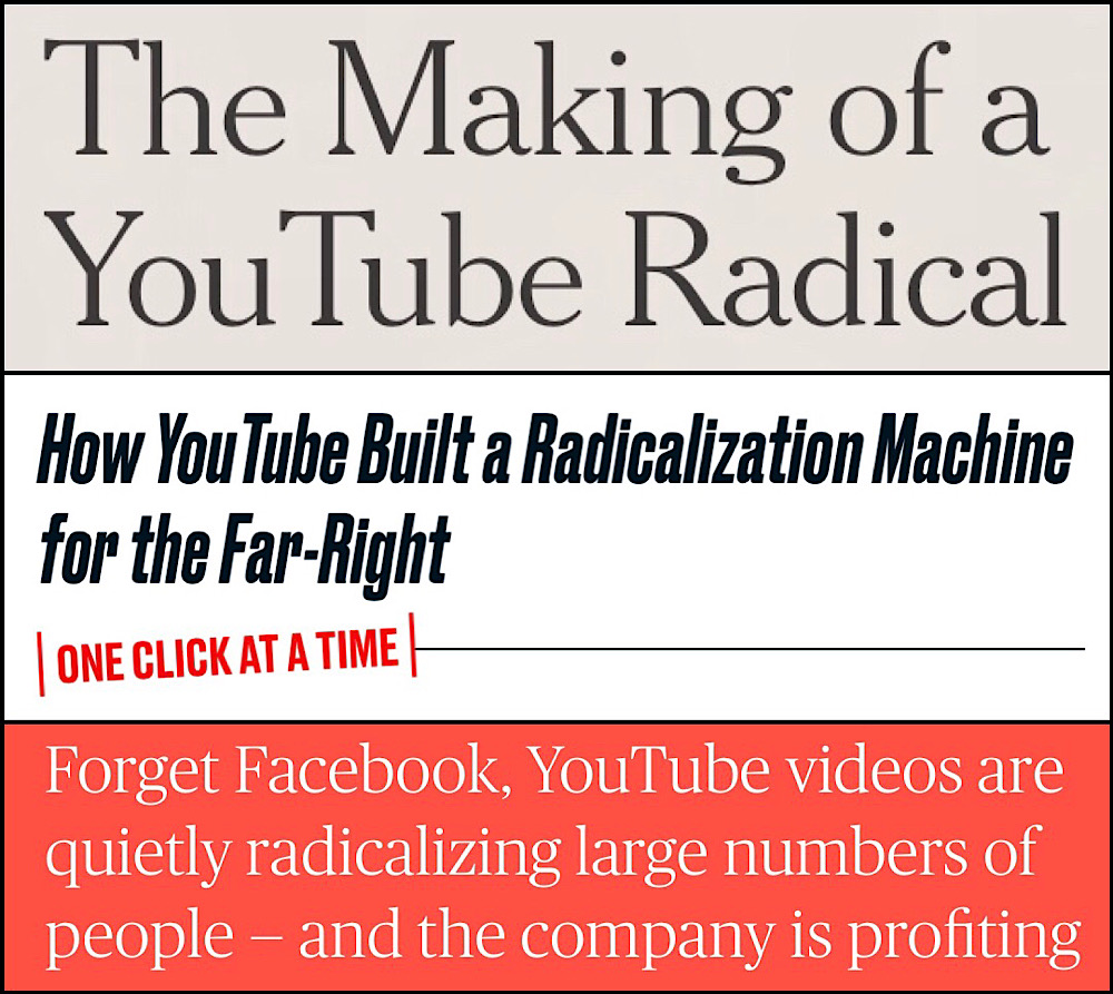 Susan Wojcicki said YouTube had made changes in response to the mainstream media's stories about the YouTube radicalization theory (The New York Times, The Daily Beast, NBC News)
