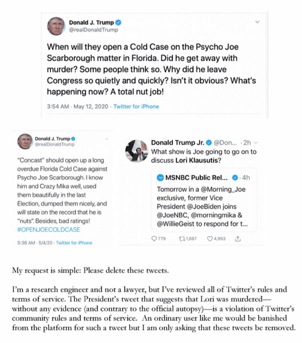 Lori Klausutis' widower, Timothy Klausutis, asked Twitter CEO Jack Dorsey to delete three tweets from President Trump and his son Donald Trump Jr. last week