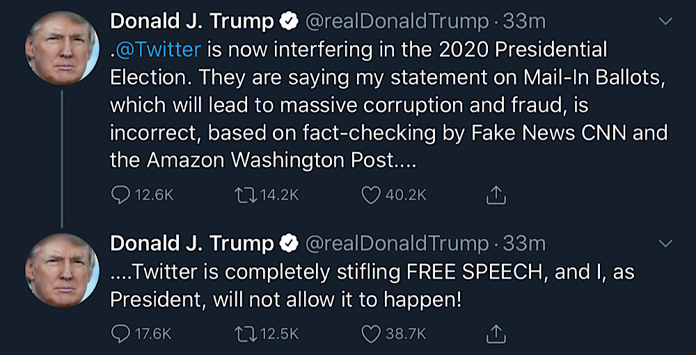 "President Trump blasted Twitter for fact-checking his tweets and accused it of ""interfering in the 2020 Presidential Election"" (Twitter - @realDonaldTrump)"