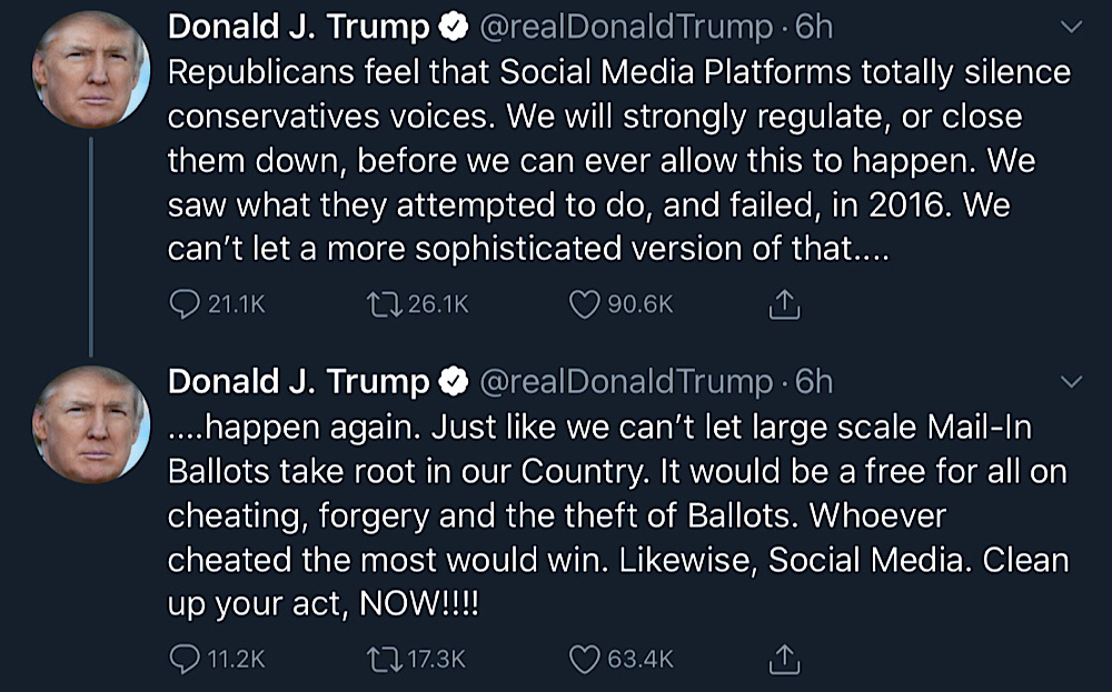 President Trump proposed regulating or shutting down social media platforms that silence conservative voices (Twitter - @realDonaldTrump)