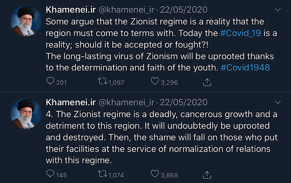 "Twitter took no action against tweets from Iran's Supreme Leader Ali Khamenei that support the ""Zionist regime"" being ""uprooted and destroyed"" (Twitter - @khamenei_ir)"