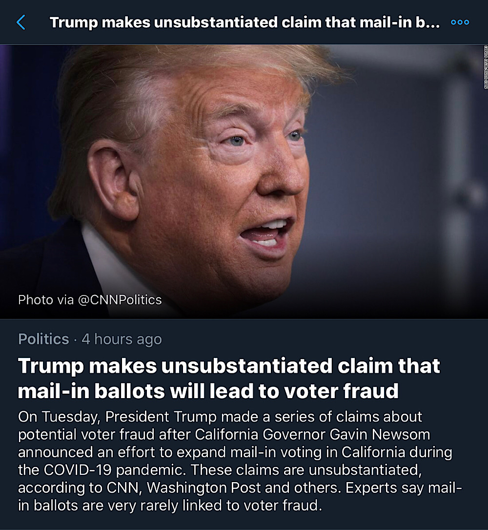 "Twitter's fact-check from CNN, The Washington Post, and others claims that there is ""no evidence that mail-in ballots are linked to voter fraud"" (Twitter)"