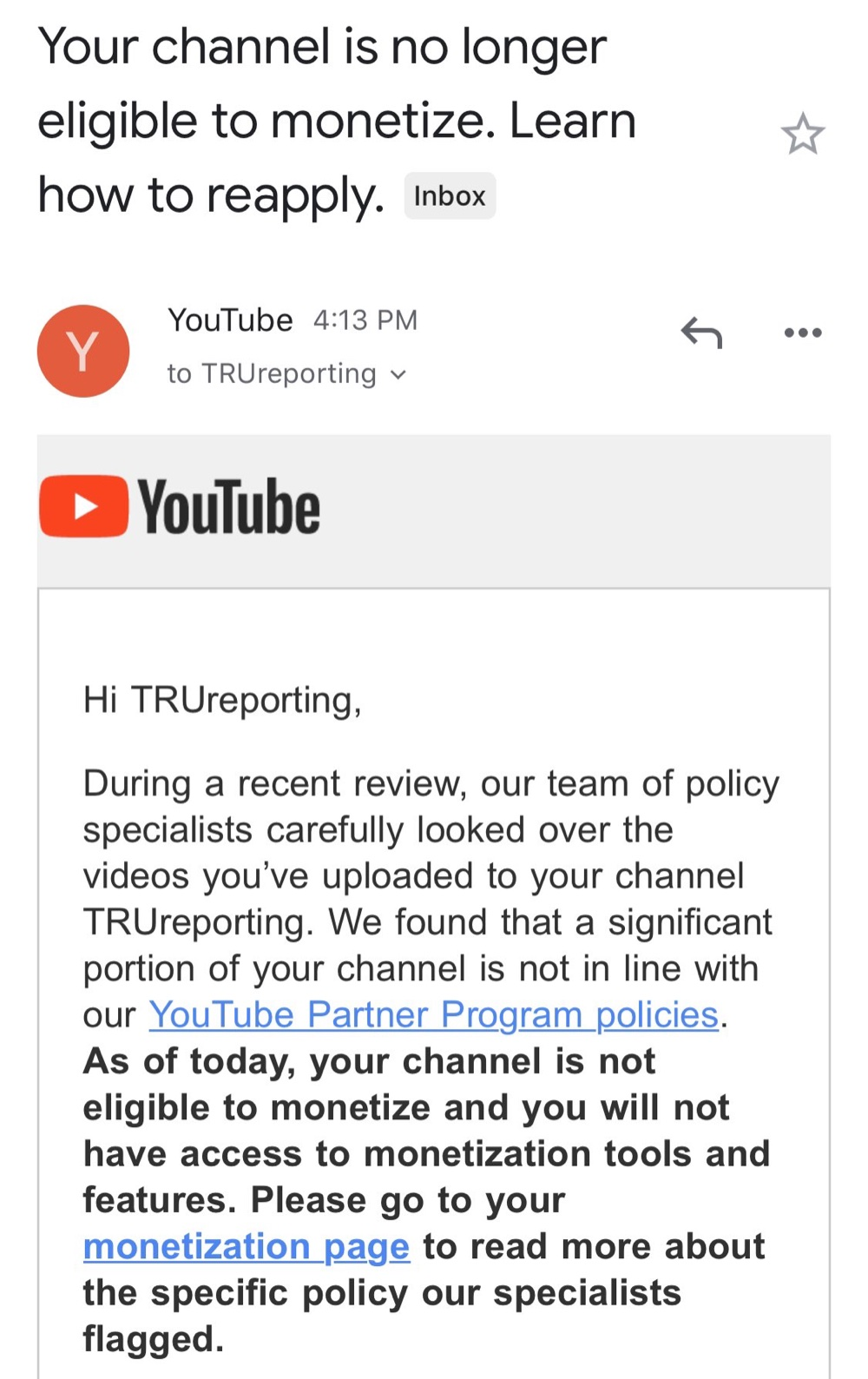 YouTube told TRUreporting the channel is no longer eligible to monetize (Twitter - @samtripoli)