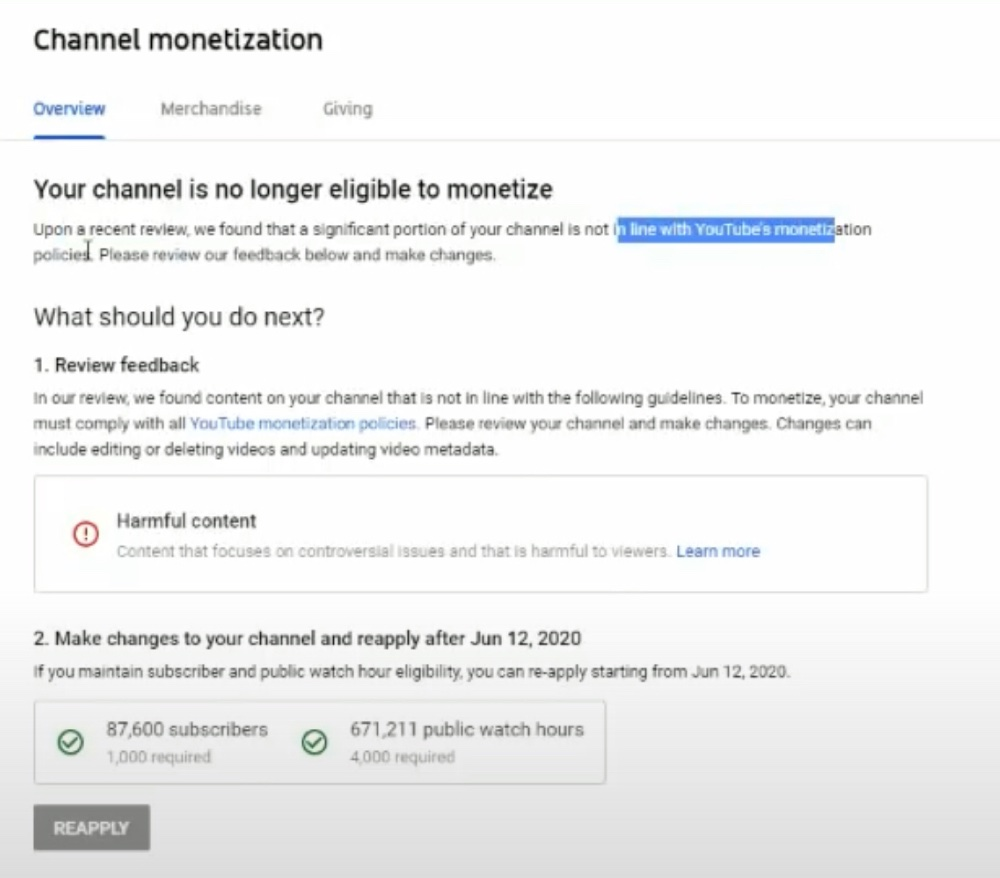 """YouTube told jsnip4 his channel was demonetized for """"harmful content"""" (YouTube - jsnip4)"""