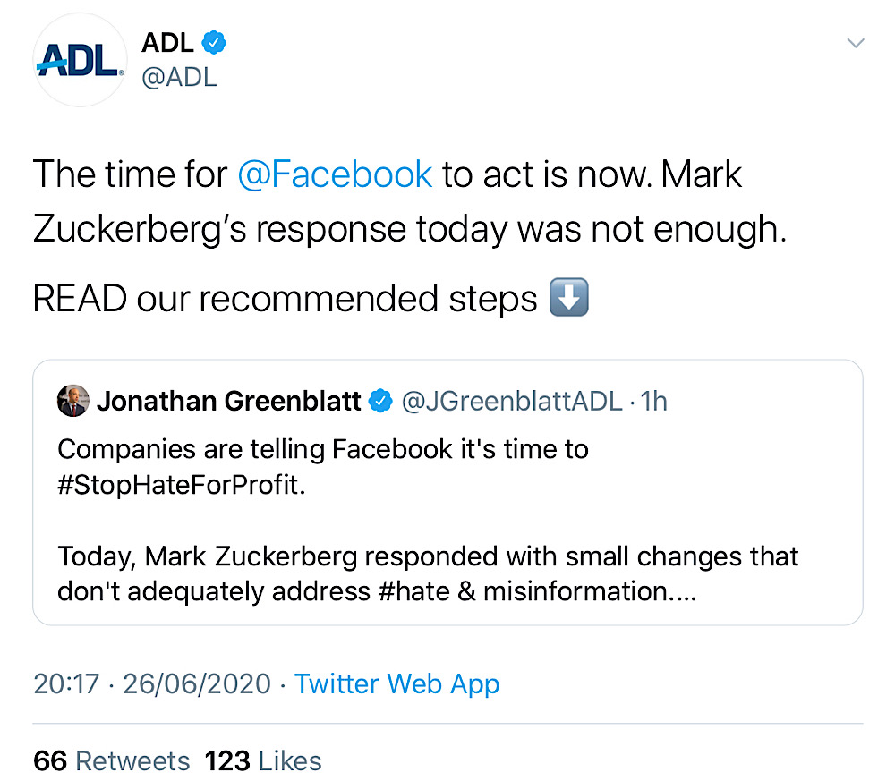 The ADL wrote that Facebook still isn't doing enough and demanded more censorship (Twitter - @ADL)