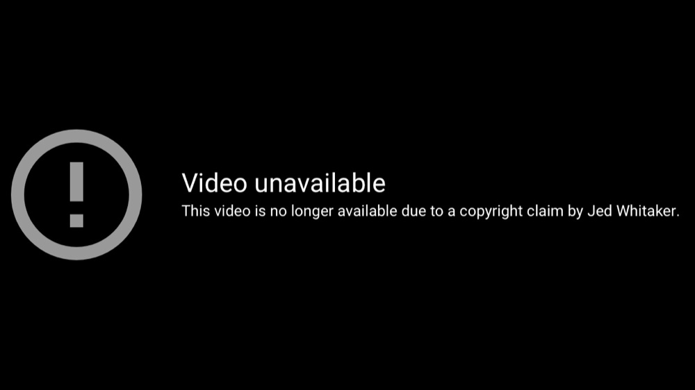 The YouTube video of Jed Whitaker making rape jokes and saying the N-word has been disabled in response to a copyright claim