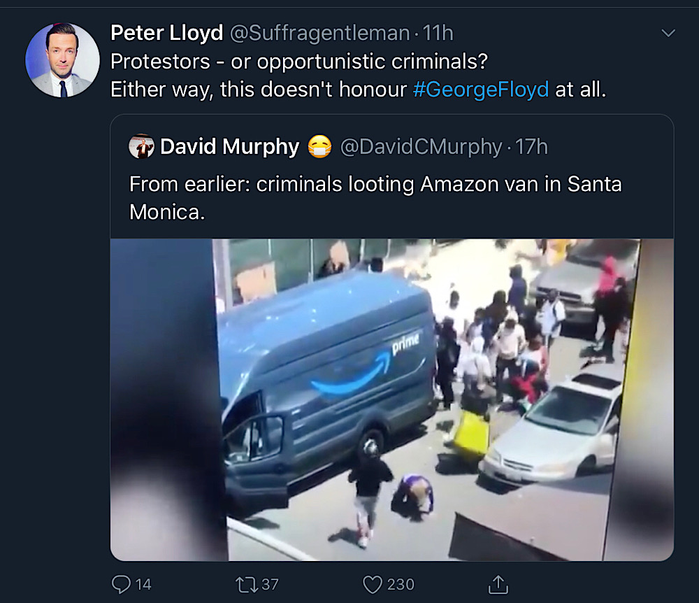Peter Lloyd condemned people looting an Amazon van (Twitter - @Suffragentleman)