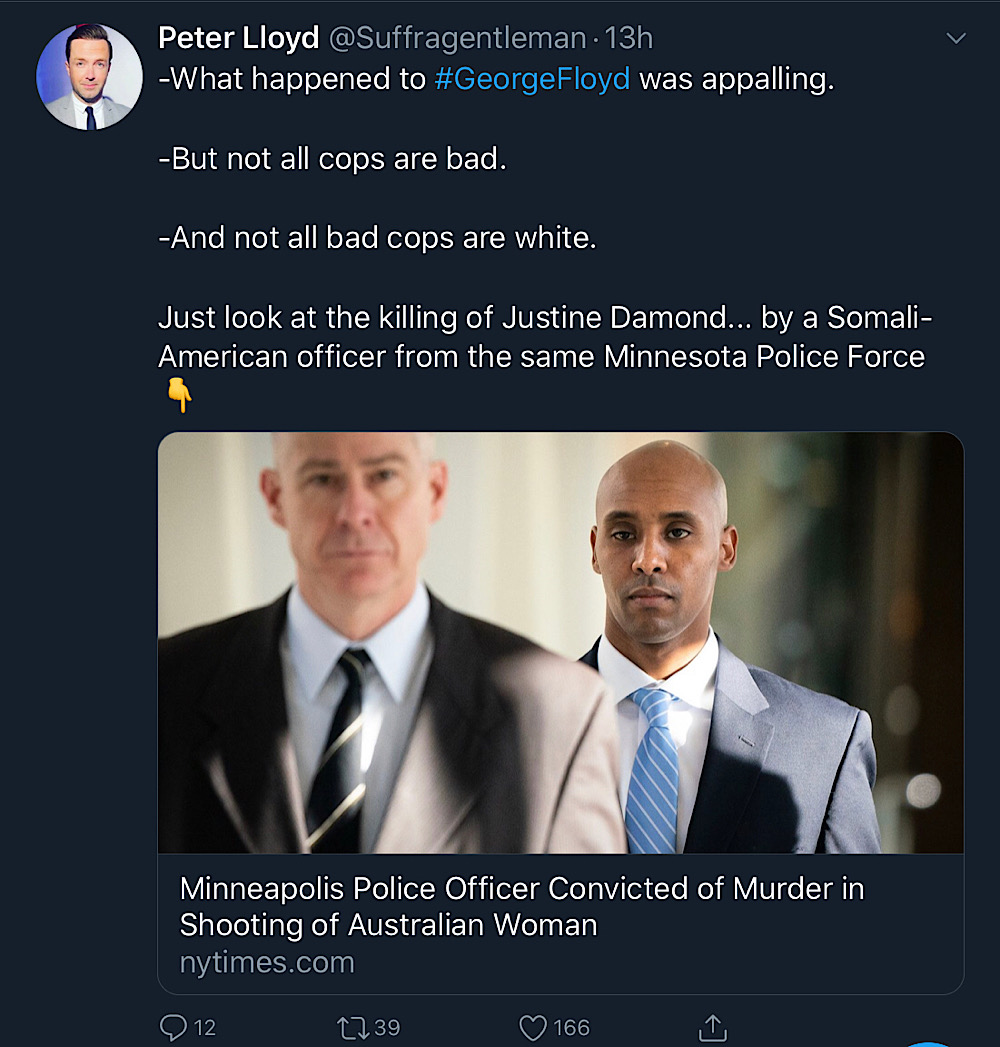 "Peter Lloyd tweeted ""not all cops are bad"" (Twitter - @Suffragentleman)"