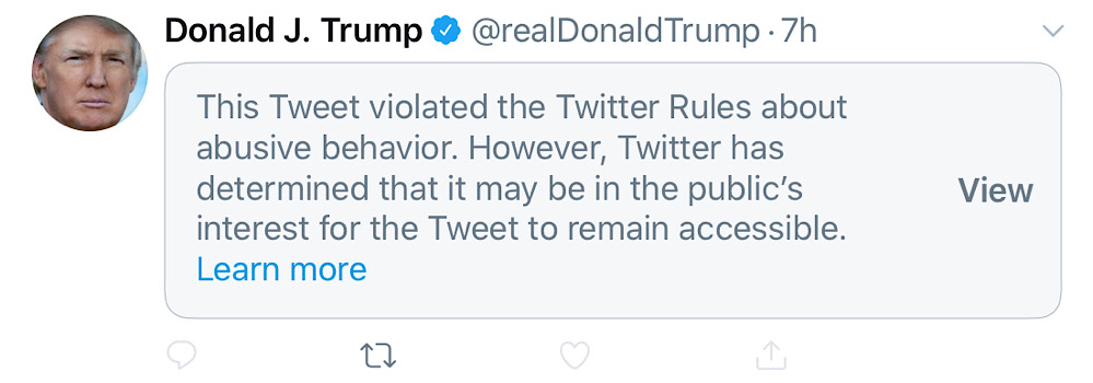 Two of President Trump's tweets were recently hidden behind a warning notice and had most of their engagement features disabled (Twitter - @realDonaldTrump)