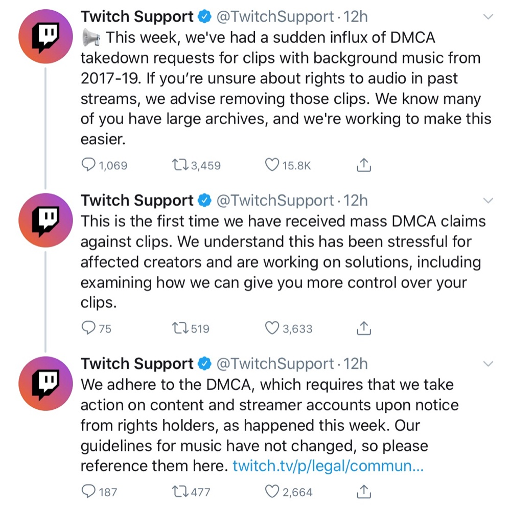 "Twitch Support tweeted that it's ""working on solutions"" and is advising streamers to remove clips where they're unsure about the audio rights (Twitter - @TwitchSupport)"