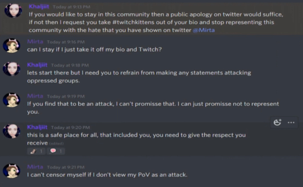 mirta000 was told by the leader of Twitch Kittens that she would have to make a public apology on Twitter to remain part of the community (YouTube - mirta000)