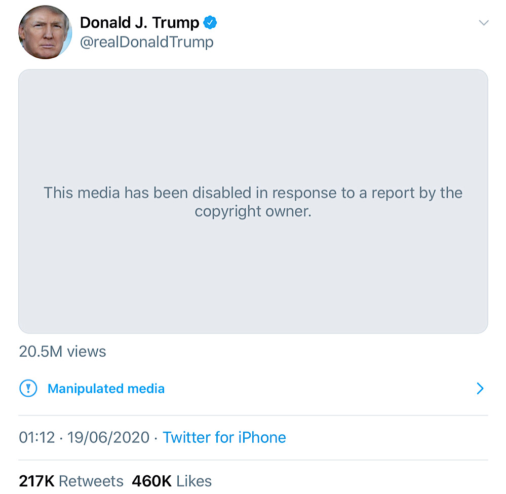 "The Carpe Donktum CNN ""fake news"" meme was taken down after a copyright claim from Jukin Media (Twitter - @realDonaldTrump)"