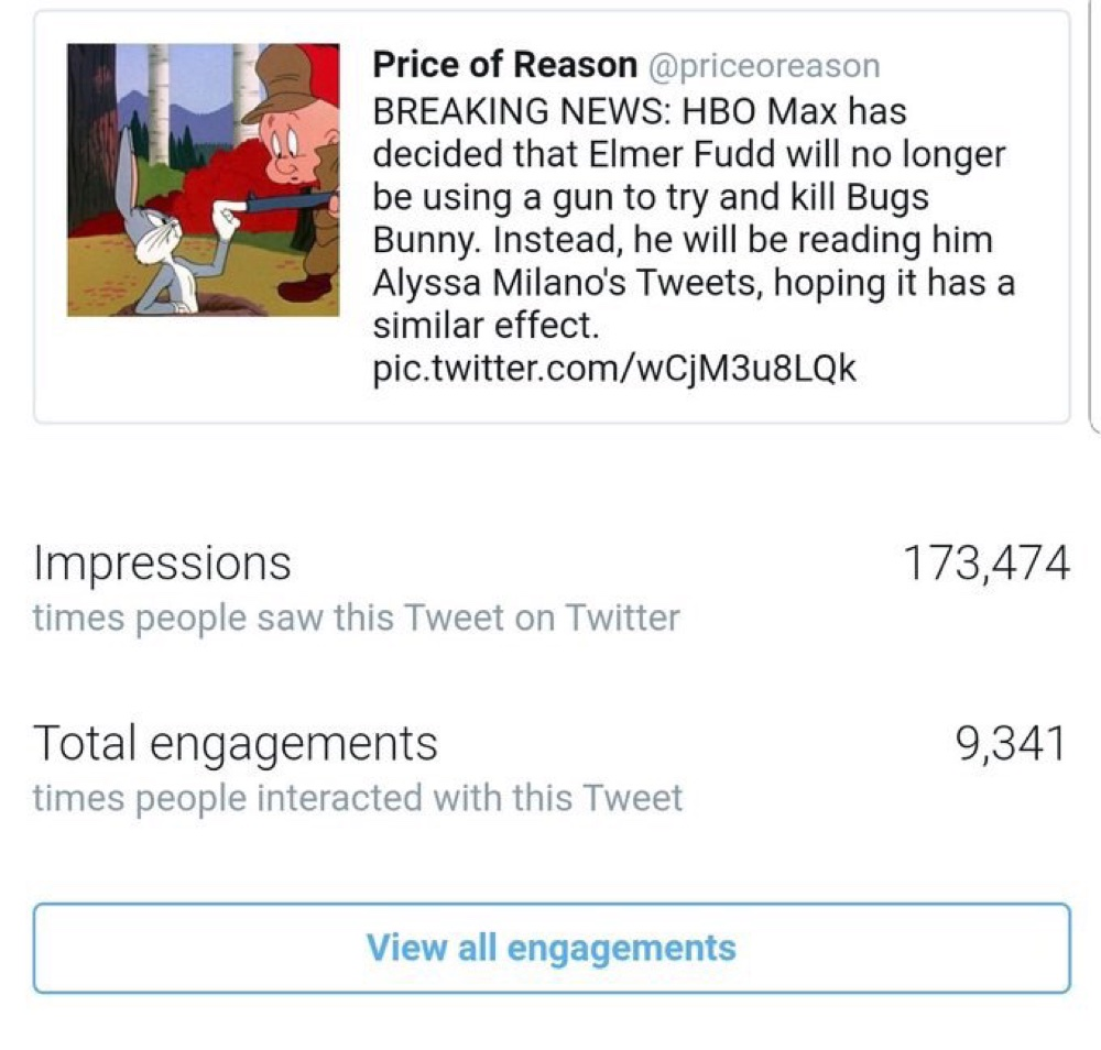 Price of Reason said the Elmer Fudd tweet got a huge level of engagement within the first four hours of being posted