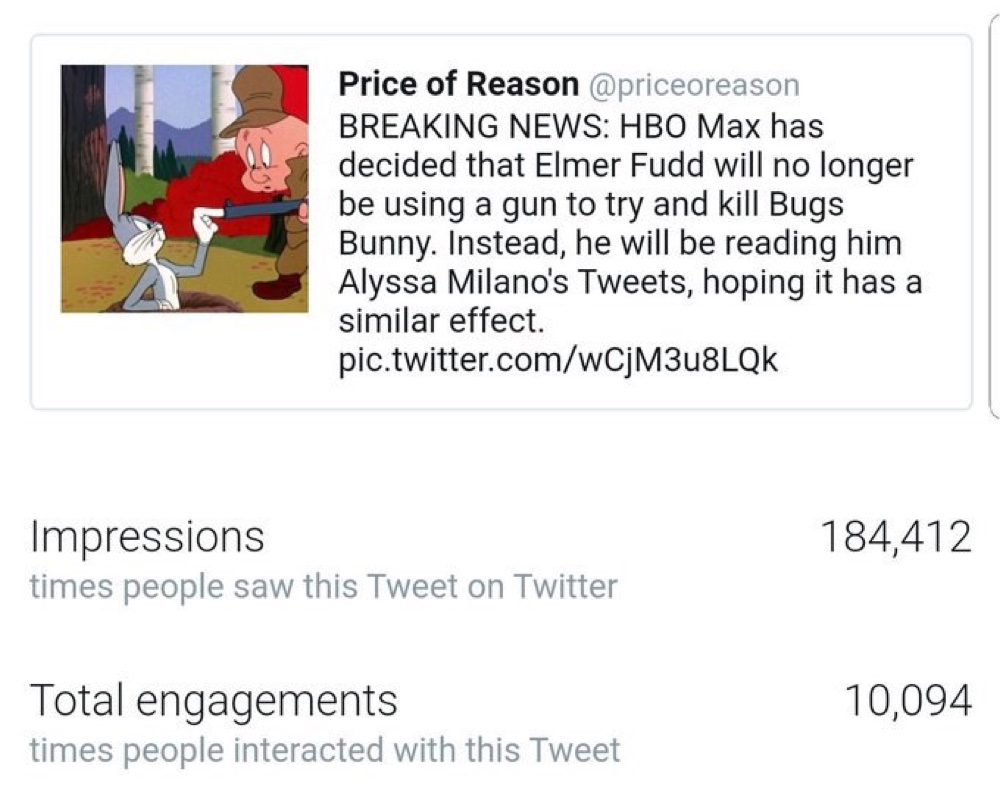Price of Reason said that during the next four hours, the engagement on the Elmer Fudd tweet slowed down drastically