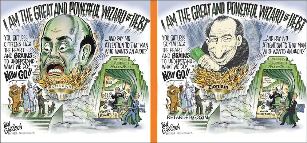 The left image shows Ben Garrison's original cartoon, the right image shows the doctored version of Ben Garrison's cartoon that was published on the ADL's website