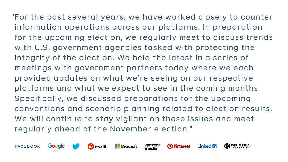 "Big Tech companies met with government partners to discuss ""scenario planning related to election results"" (@Policy)"