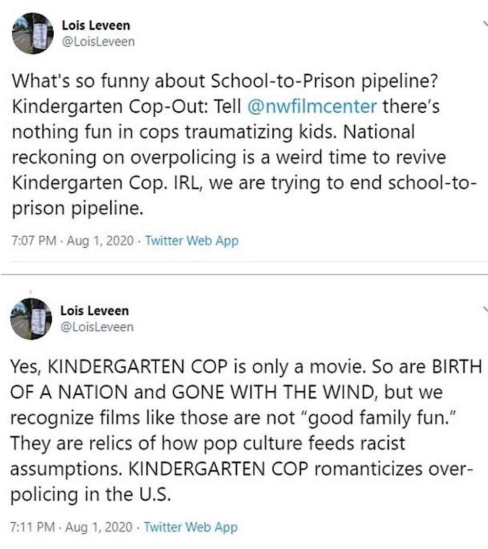"Lois Leveen complained that Kindergarten Cop ""romanticizes over-policing in the U.S."" (Twitter - @LoisLeveen)"