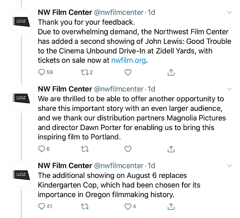 Northwest Film Center thanked Lois Leveen for her feedback and pulled the Kindergarten Cop screening (Twitter - @nwfilmcenter)