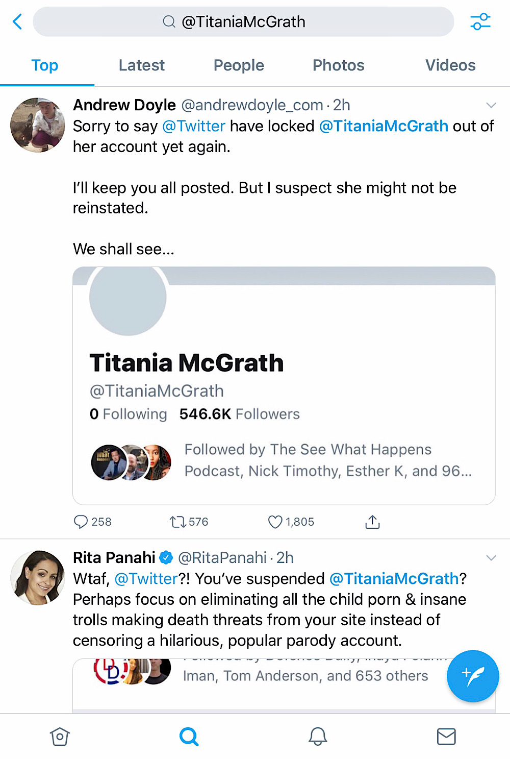"""Titania McGrath's account and tweets have been removed from search results for """"@TitaniaMcGrath"""" (Twitter - @TitaniaMcGrath)"""