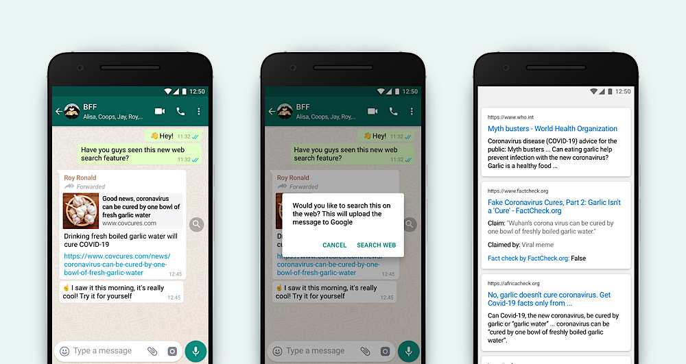 """WhatsApp has started adding """"Search the web"""" prompts to messages that are flagged for being forwarded many times (WhatsApp Blog)"""