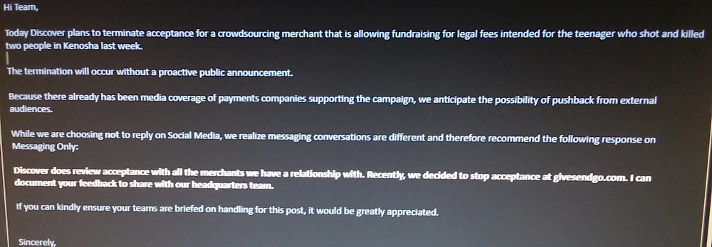 GiveSendGo shared an image of what appears to be an internal Discover email announcing plans to terminate acceptance for GiveSendGo (Imgur)