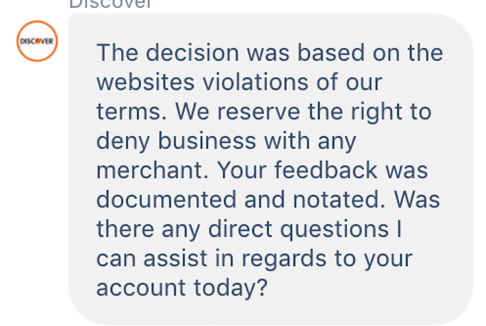 GiveSendGo shared an image of what appears to be a DM from Discover confirming that acceptance for GiveSendGo has been terminated (Imgur)