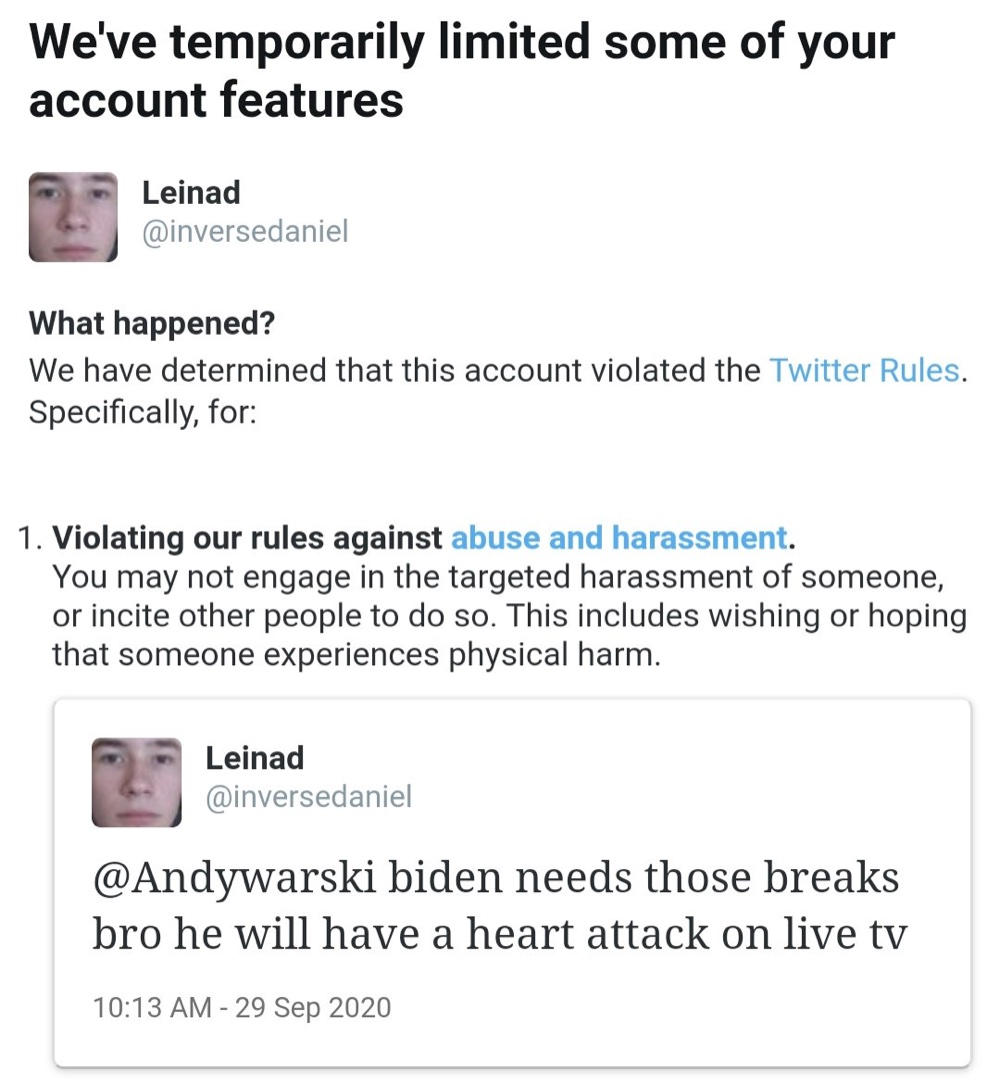 Leinad has been locked out of his account for 12 hours after tweeting about Joe Biden's health (@JohnSwanYT)