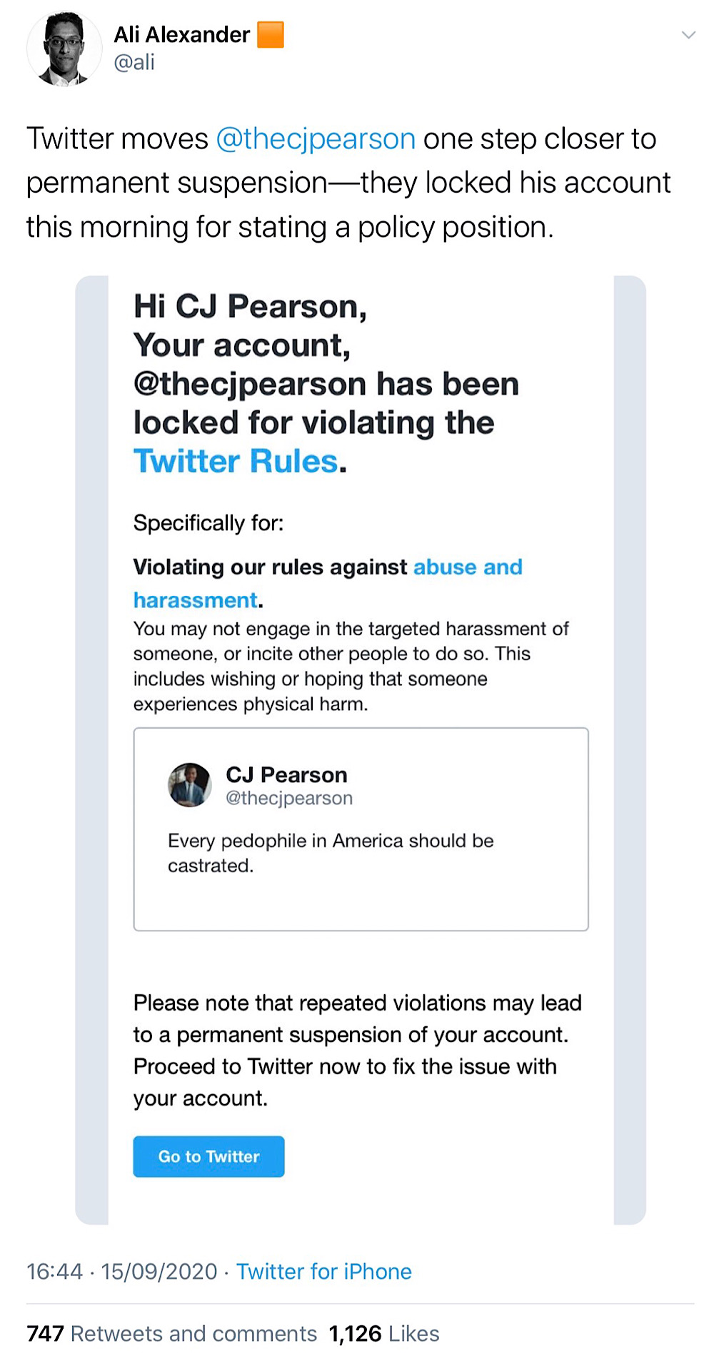 """Twitter locked the account of CJ Pearson for tweeting """"Every pedophile in America should be castrated"""" (Twitter - @ali)"""