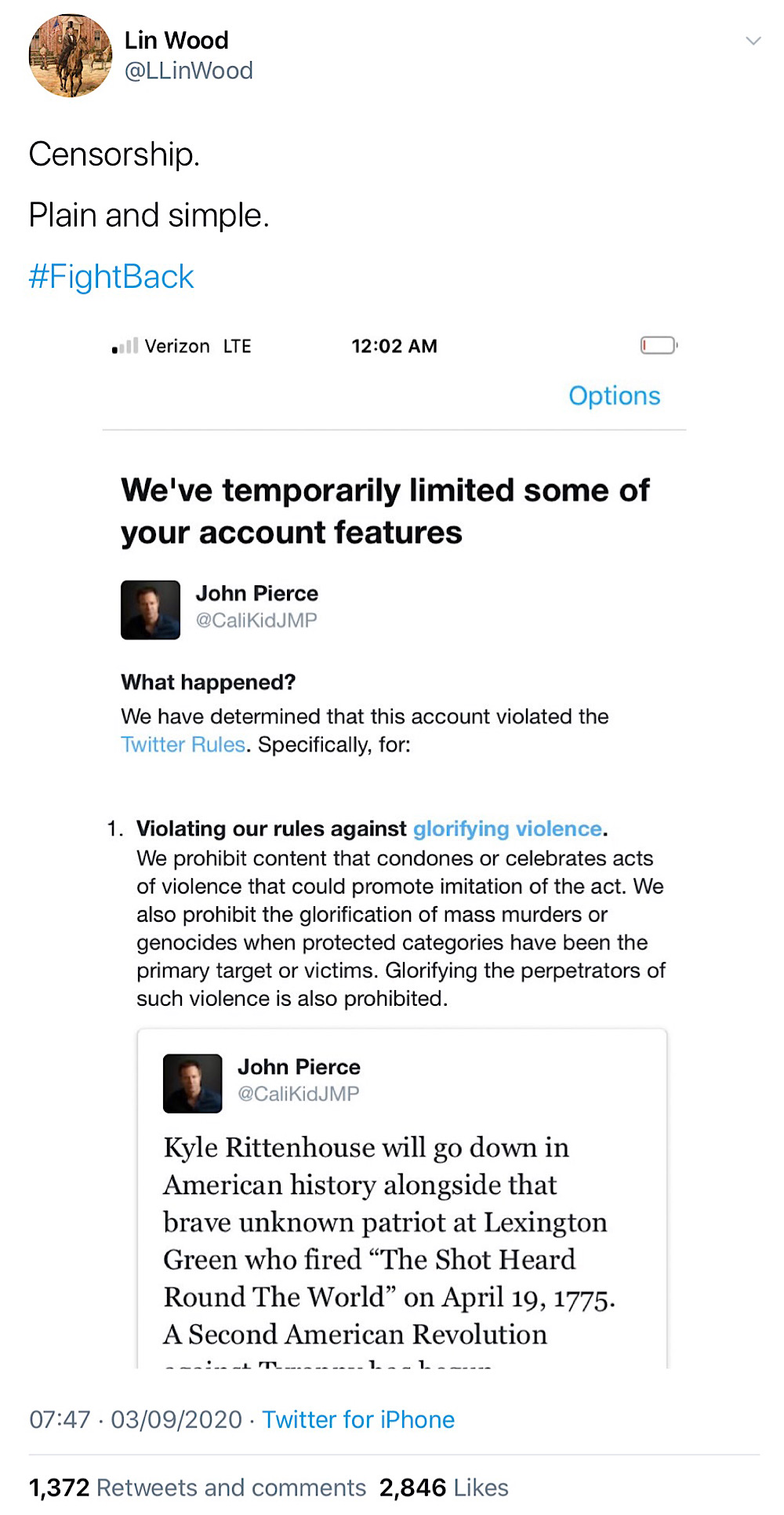 "Lin Wood described the freezing of John Pierce's account as: ""Censorship. Plain and simple."" (Twitter - @LLinWood)"
