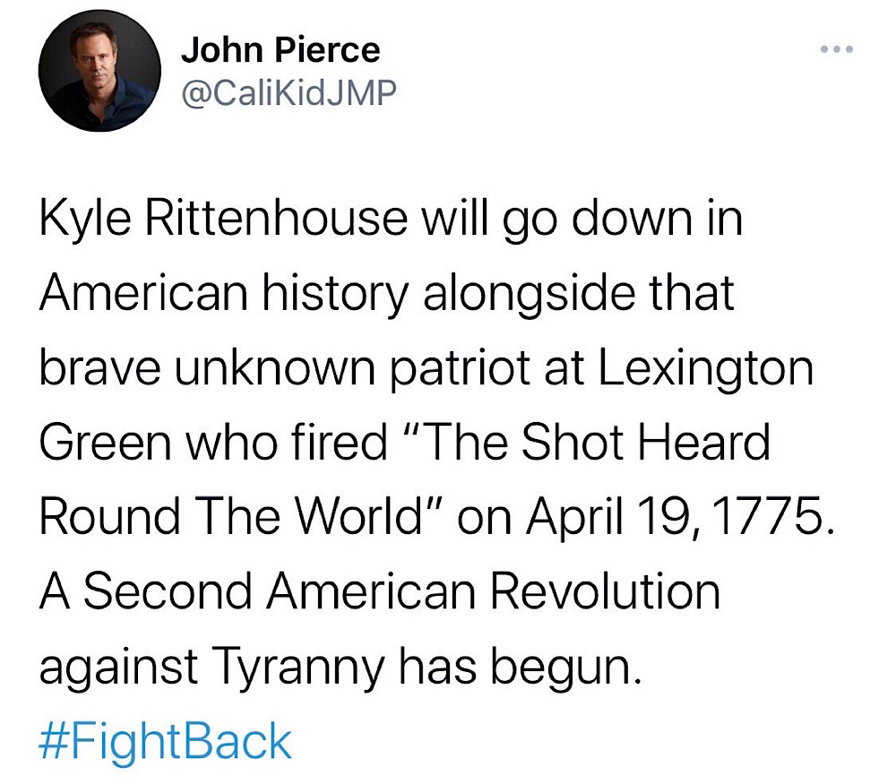"John Pierce was locked out of his account for comparing Kyle Rittenhouse to the ""unknown patriot"" who fired the first shot of the Battle of Concord (Twitter - @CaliKidJMP)"