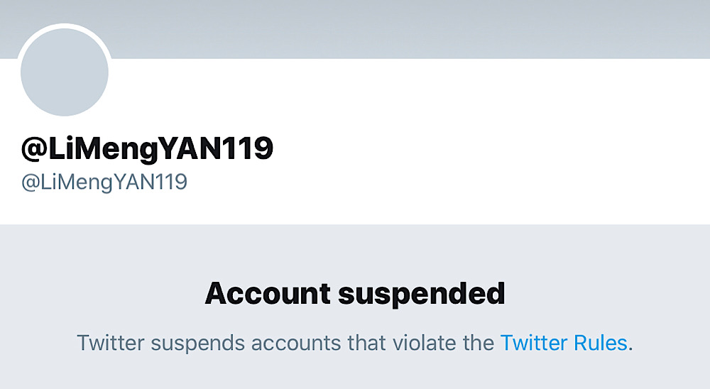 Twitter suspended Dr. Li-Meng shortly after publishing she published a paper alleging that the coronavirus was created in a lab (Archive.today - Twitter - @LiMengYAN119)