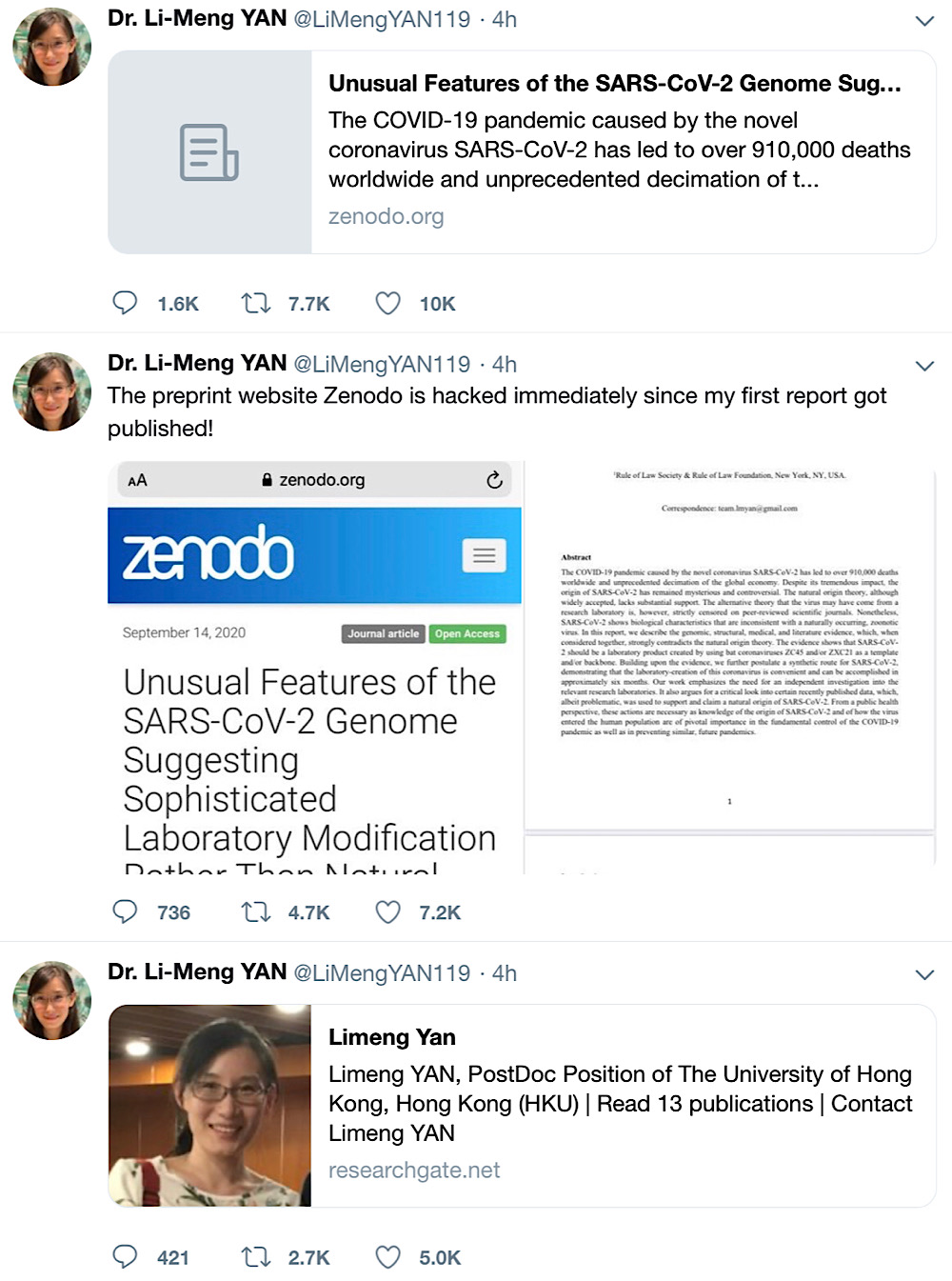Dr. Li-Meng Yan tweeted out information about her paper and research before she was suspended (Archive.today - Twitter - @LiMengYAN119)