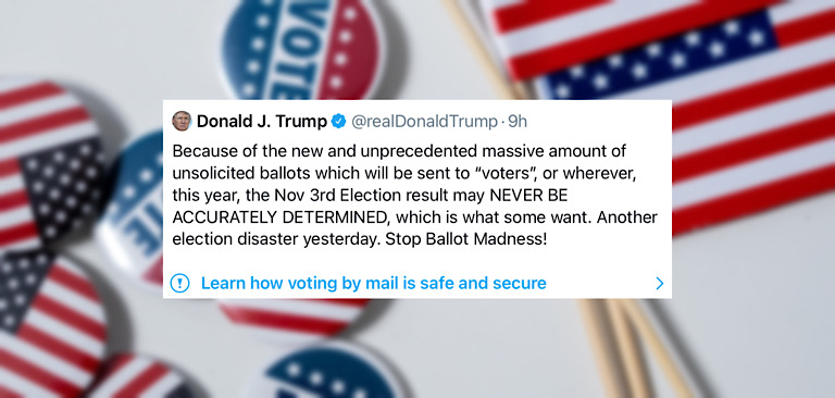 "Twitter labels President Trump's tweet for making a ""potentially  misleading"" statement about mail-in voting"