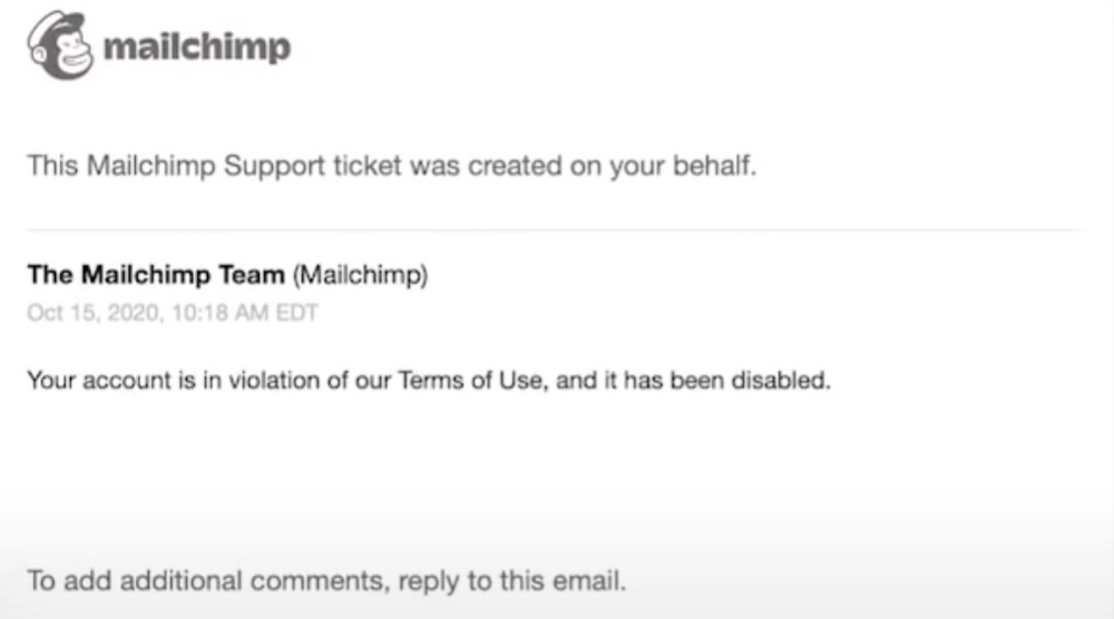 Mailchimp sent this support ticket to Press For Truth (BitChute - Press For Truth)
