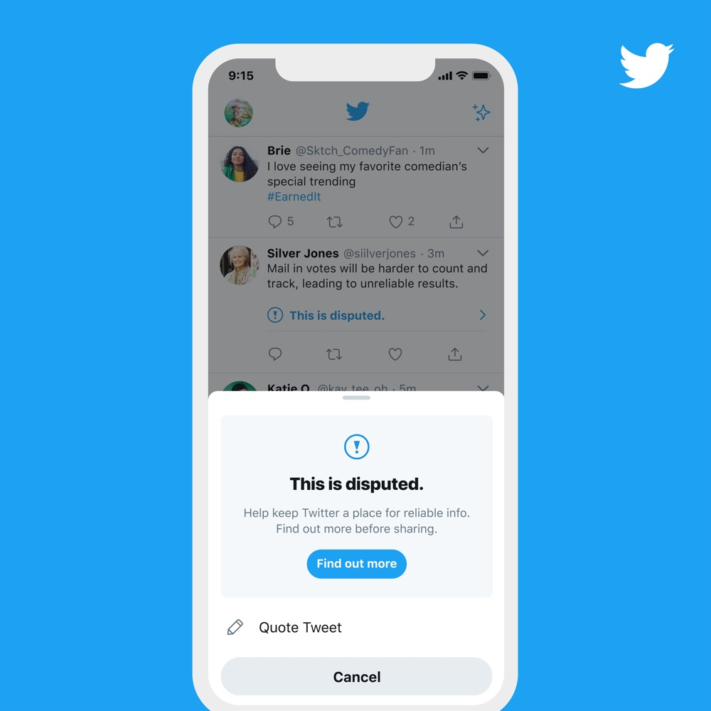 """A sample of the prompt that will appear when users attempt to retweet something that Twitter deems to be """"misleading"""" (Twitter Blog)"""