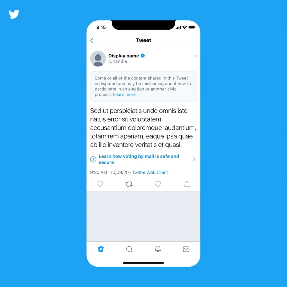 """A sample of the warning label that will appear on top of tweets that Twitter deems to be """"misleading"""" (Twitter Blog)"""