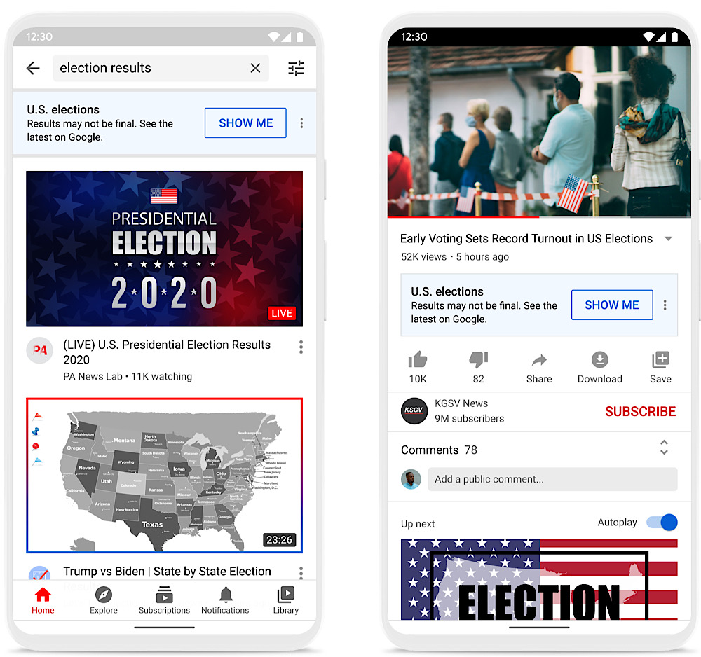 """YouTube will push the message that election """"results may not be final"""" on election-related searches and videos (YouTube Blog)"""